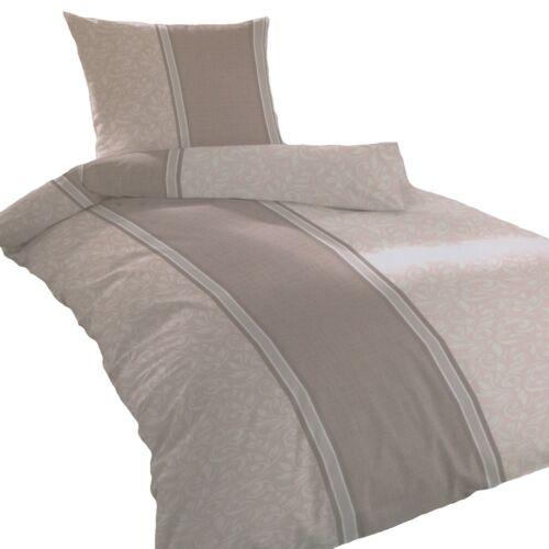 Bettwäsche 135x200 80x80 cm Streifen Blumen Grau Bettbezug Bettwäscheset