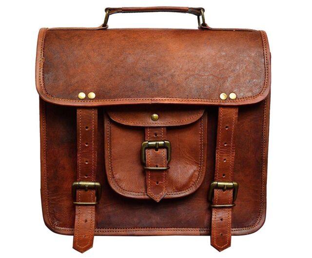 """Men's Retro Leather Messenger Shoulder Bag Satchel 11"""" Laptop Briefcase Attache"""