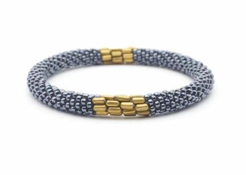 """Sashka Co EXTENDED 8/"""" SERENE Glass Bead BRACELET Nepal Fair Trade silver gold"""
