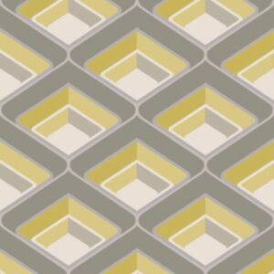3d Geometric Retro Vintage Bold Metallic Glitter Yellow Grey Silver
