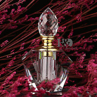 Vintage Trapezoid Crystal Glass Perfume Bottle Empty Refillable Stopper Gift 3ml