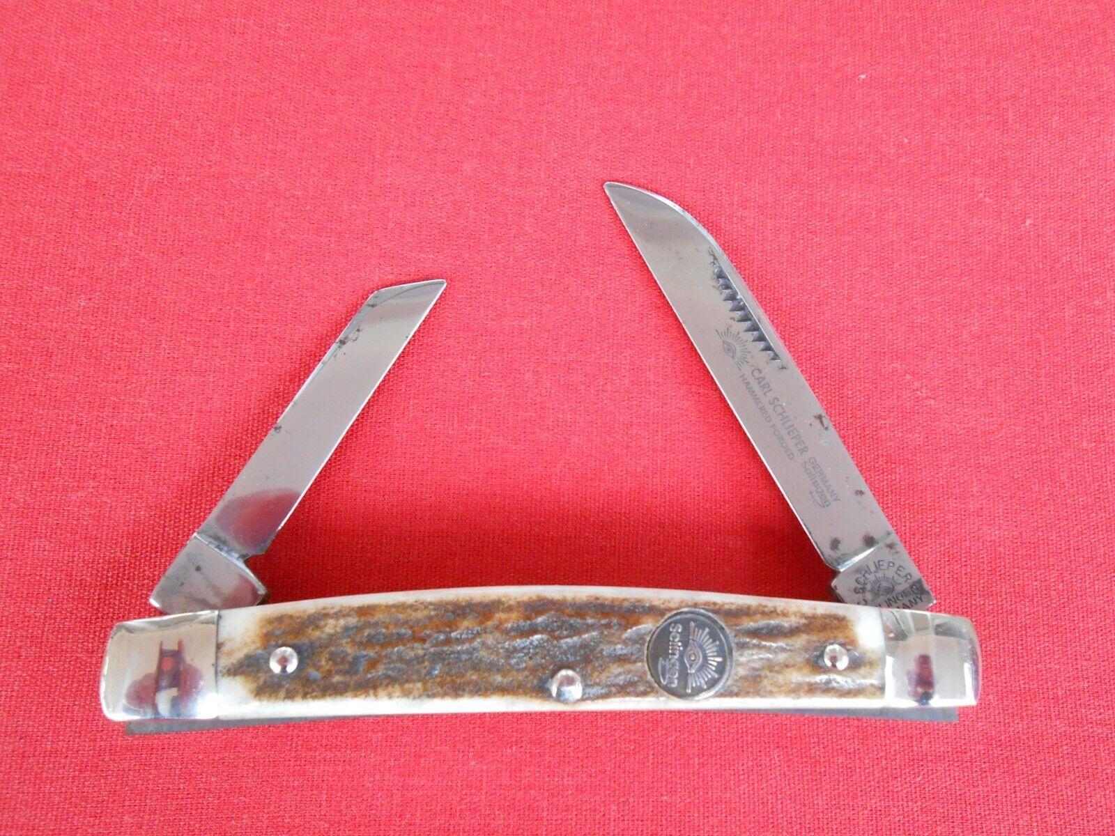 C. SCHLIEPER EYE BRAND 54 DS HALF CONGRESS STAG HANDLES KNIFE