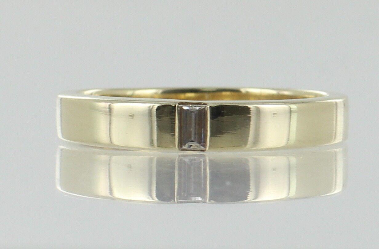 Hallmarked 9ct oro Giallo e Baguette Anello Di Diamanti Diamanti Diamanti Misura T REF 918 474bd4