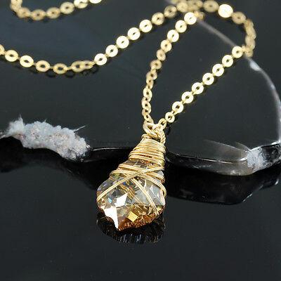 Hand Wrapped SWAROVSKI ELEMENTS Crystal Pendant 14k Gold Filled Necklace Y929