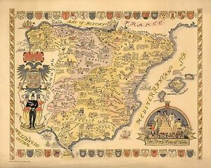 Map Of Spain Landmarks.Details About 1935 Pictorial Story Map Spain Pictographs Landmarks Industries Poster 8473000