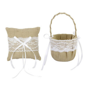 Rustic Burlap Jute Lace Flower Girl Basket+Ring Pillow Wedding Decor