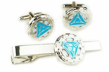 Iron Man Heart Stark Vibranium Arc Reactor Avengers 1 2 3 TIE BAR CUFFLINKS SET