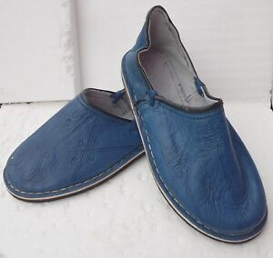MOROCCAN-LEATHER-BABOUCHE-Slippers-BLUE-ALL-SIZES