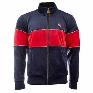 New-Men-039-s-Fila-Filas-Velour-Zip-Jacket-Athletic-Top-Hoody-Fleece