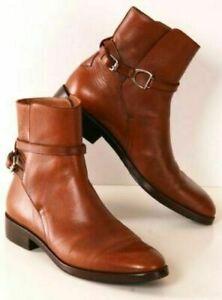 Bottes de cavalier Jodhpur pour hommes, à la cheville, à boucle en cuir marron