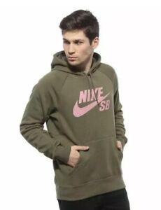 5f12d6d0f9 Nike SB Icon Hoodie Sweatshirt AQ9565 222 Men Hoody Olive Pink Army ...