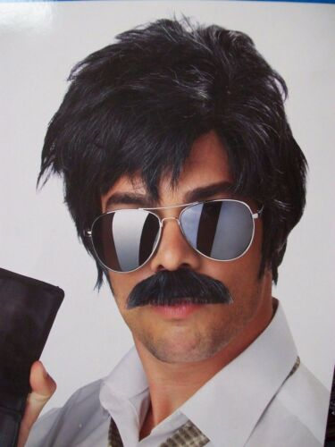 Messy Black Ace Detective Wig /& Mustache Cop Sergeant Investigator Chips Ponch
