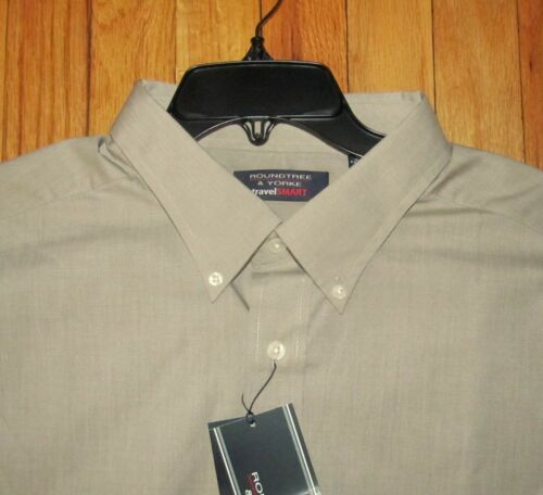 3XLT NWT 2XLT Roundtree Mens SS Solid Dusty Brown  Dk Tan Travel Shirt XLT