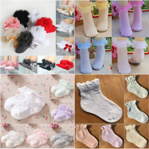 Baby Girls Lace Ruffle Frilly Bow Ankle Socks Princess Cotton Short Socks G
