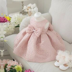8566cf7ddf10 Newborn Baby Gown Infant Girl s Princess Lace Baptism Bow Dress ...