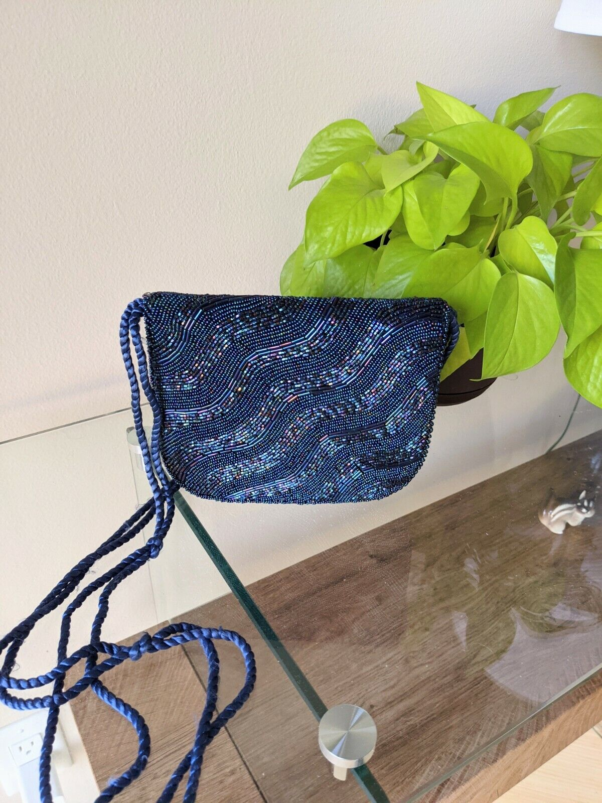 Fully Beaded Evening Bag Navy Blue Long Straps Small Flap Purse
