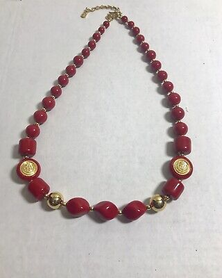 CHUNKY STATEMENT NECKLACE retro 29 inches long Vivid Red Vintage from the 70/'s Black and silver accents Free Ship.