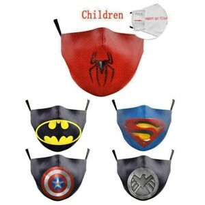 Masque Protection Bouche En Tissu Lavable Enfant Garcon Dessin Anime Super Heros Ebay
