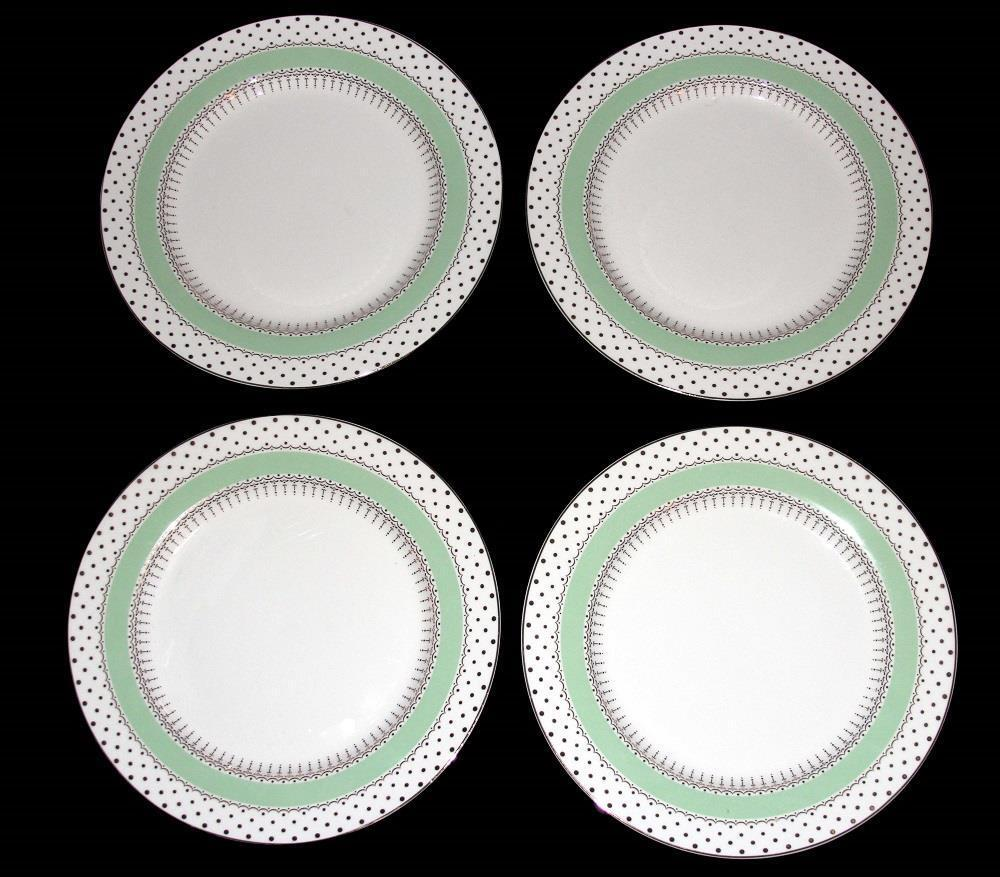 4 Grace's Thé pois vert menthe Accents dorés 10-1 2  assiettes NEUF