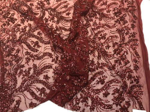 BURGUNDY SEQUINS VINES DESIGN EMBROIDERY ON A 4 WAY STRETCH MESH-BY THE YARD.