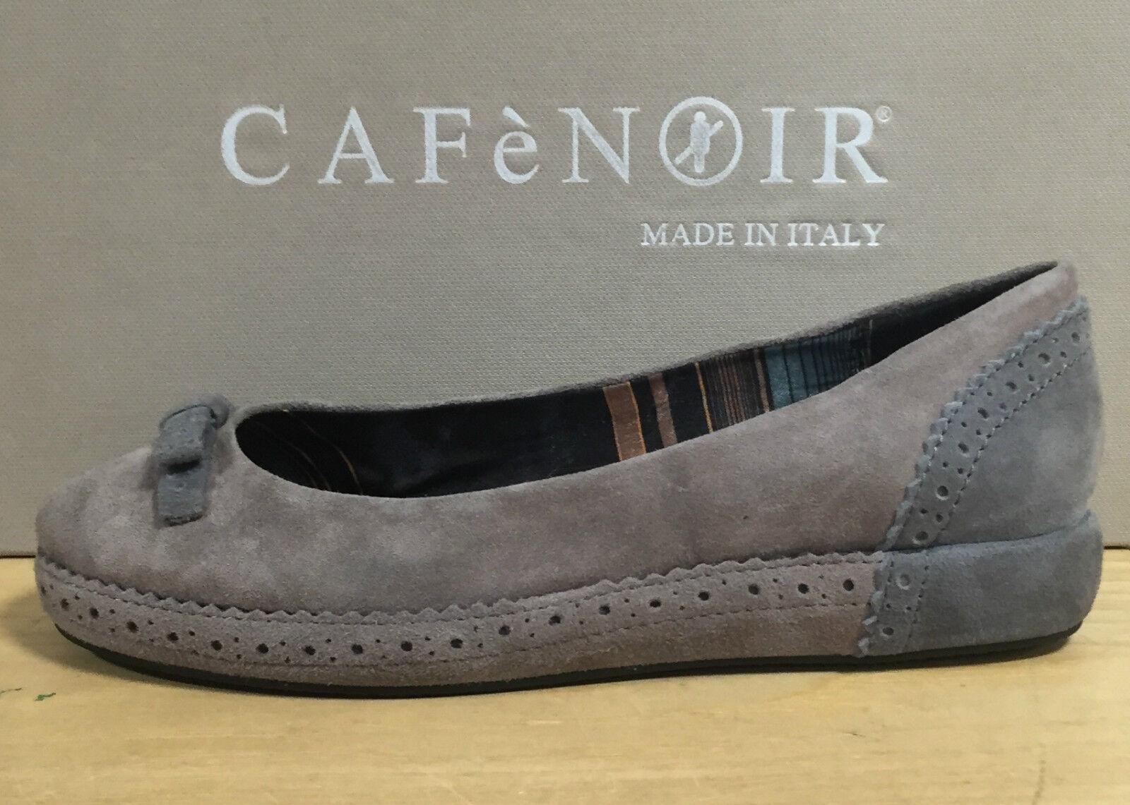 CAFè black shoes women, BALLERINE IN CAMOSCIO COLOR TOPO CON FIOCCO IN CONTRASTO