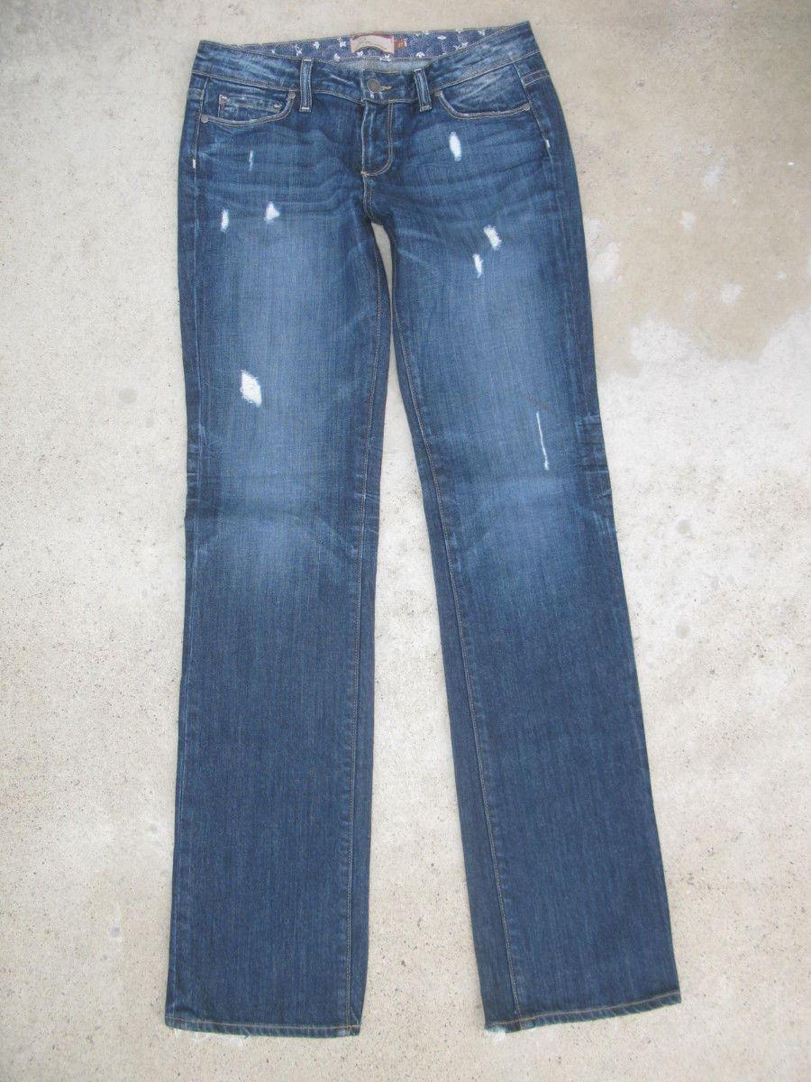 Paige Premium Jeans Jimmy Jimmy Boyfriend Straight Leg Sz 27 Distressed