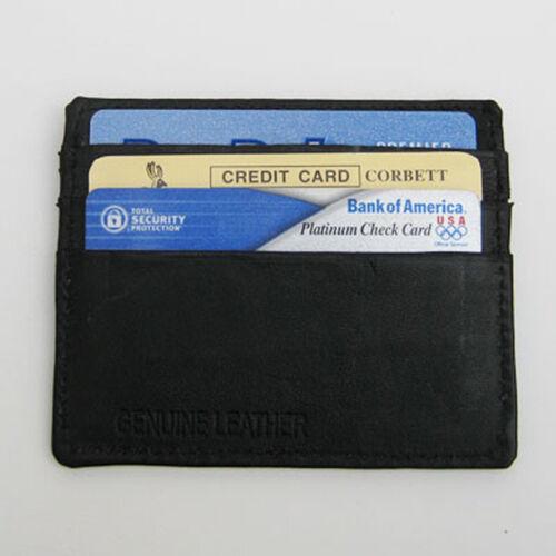 Black Men/'s Leather Super Thin Wallet  6 Credit Card Front Pocket Holder