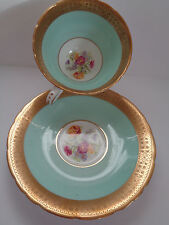 DELPHINE China VINTAGE TURQUOISE TEA CUP & SAUCER FLORAL & GOLD England