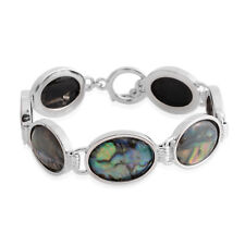 Oval Abalone Shell Bracelet Jewelry Gift for Women 7.5''