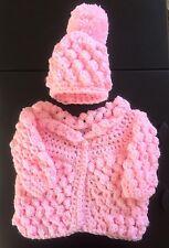 Handmade Crochet Baby Matinee Coat Cardigan Bobble Hat Set Pink Popcorn NEWBORN