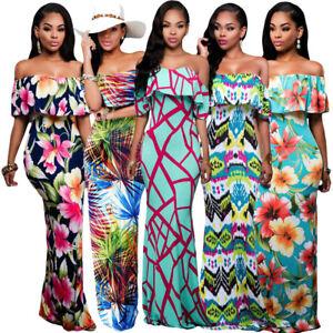 Tropical Summer Casual Long Dress Off Shoulder Multi