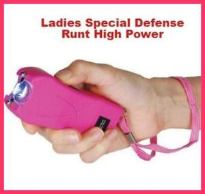 Runt Stun Gun 49 MV PINK LED Flashlight Disable Pin
