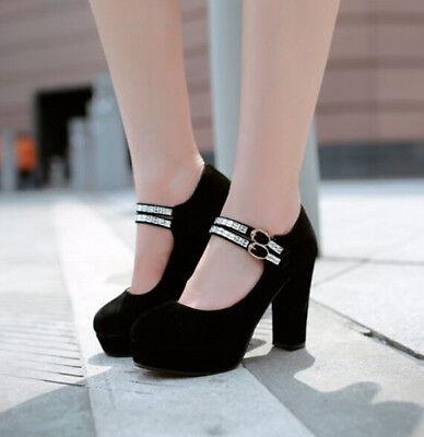 Fashion Womens Block High Heels Platform Pumps Ankle Starp Party Shoes Plus Size