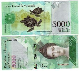 VENEZUELA-Billet-5000-BOLIVARES-2016-2017-NEW-NOUVEAU-TORTUE-ARISMENDI-UNC-NEUF