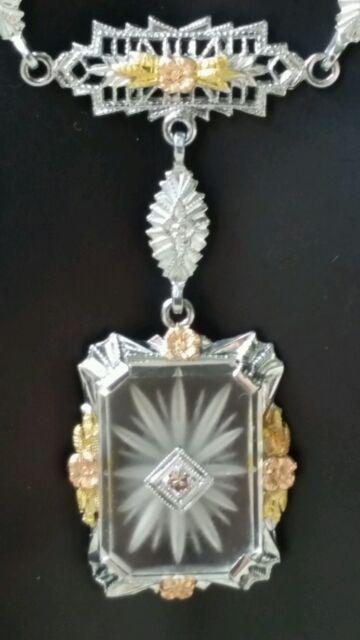 Antique 10k White Gold Rock Crystal Quartz Chain Necklace Pendant Estate 4 gm