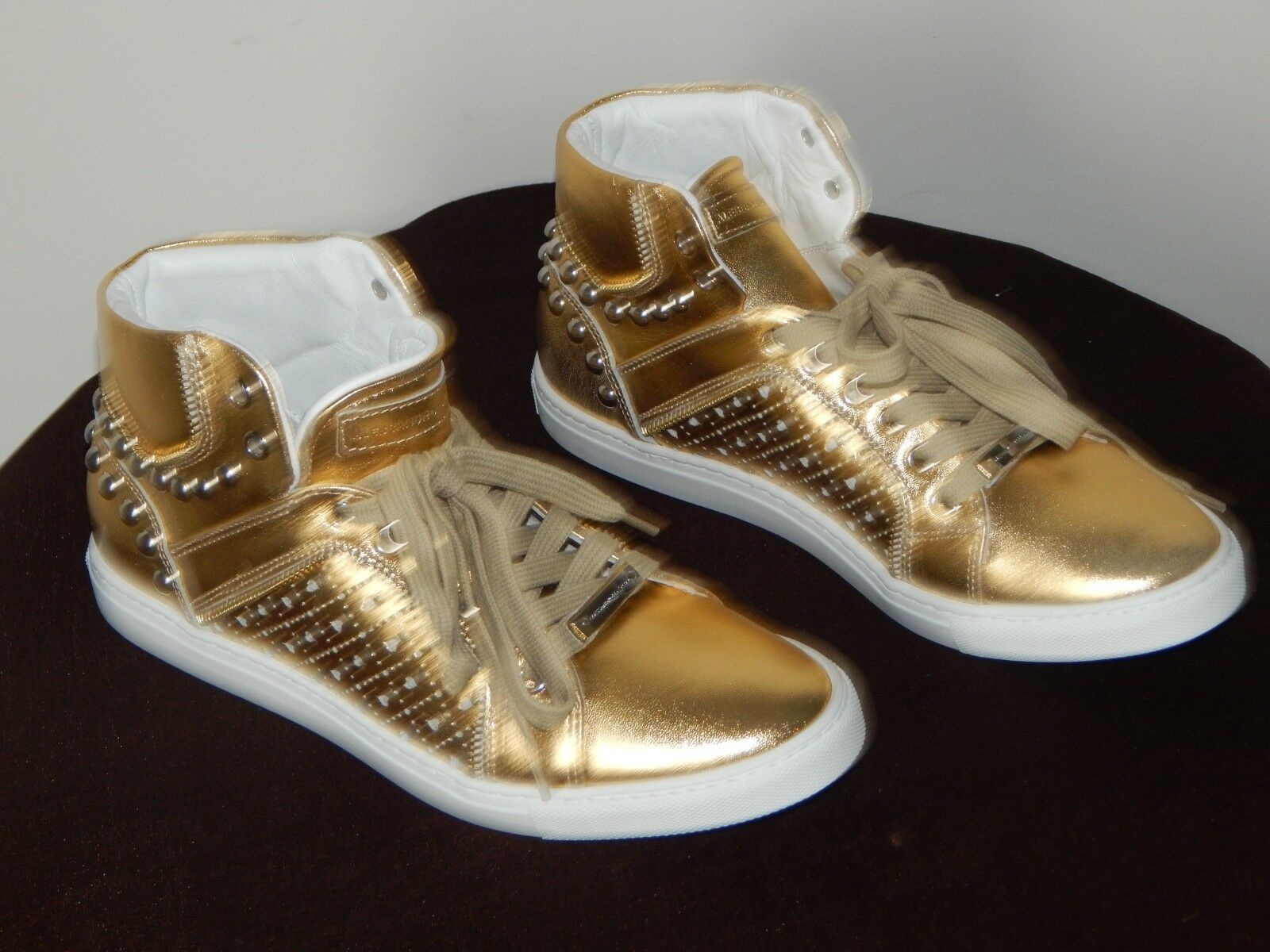 NIB  Alessandro Dell Acqua Studded High -Top Leather scarpe da ginnastica scarpe oro 7.5 -8.5  shopping online e negozio di moda