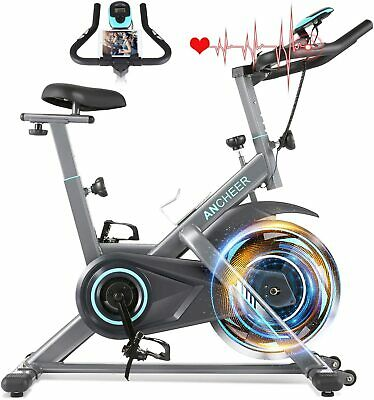 ANCHEER Exercise Bike 49LBS Flywheel Indoor Cycling Bike Stationary with Heart