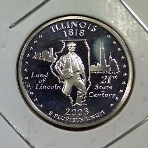 2003-S-ILLINOIS-STATE-QUARTER-NICE-BU-SILVER-PROOF-CAMEO-US-COIN-a010