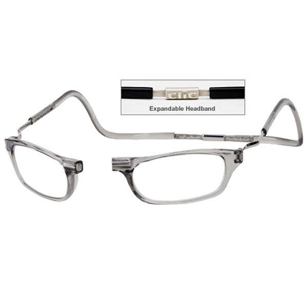 3e79150100a1 CliC +2.5 Diopter Magnetic Reading Glasses  Expandable Smoke ...