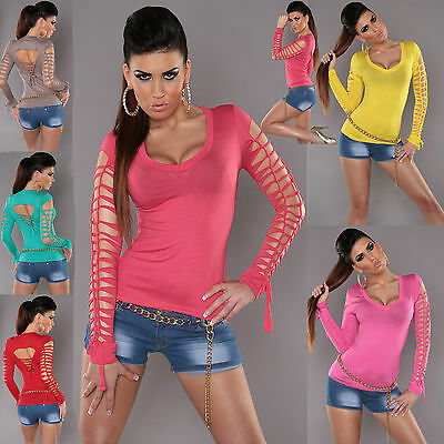 New Sexy Lady Clubbing Ripe Effect Women Party Top Ladies Shirt Size 6 8 10 12 S