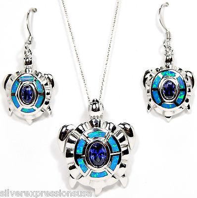 Tanzanite & Blue Fire Opal 925 Sterling Silver Turtle Pendant & Earring Necklace