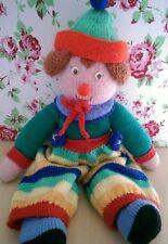 Cute Vintage Knitted Clown Soft Toy Teddy Kitsch Retro Rainbow Colours Plush