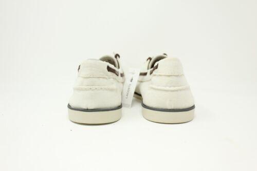 6ab6fe2119cdd4 1 of 3 Lacoste Corbon 6 SRM Canvas   7-27SRM1207098 Boat Shoe Off White Men  SZ 8