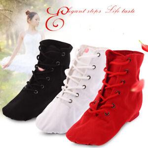 Women Ballet Lace Up Canvas Dance Shoes