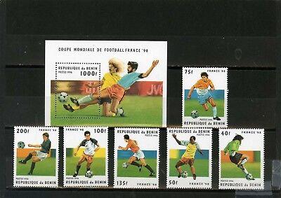 Herzhaft Benin 1996 Sc #822-828 Fußball World Cup Frankreich 6er Set Stempel & S/s Mnh Volumen Groß Briefmarken