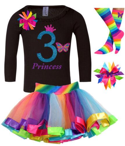 Girls/' 3rd Birthday Outfit Black Butterfly Shirt Rainbow Tutu Add Name