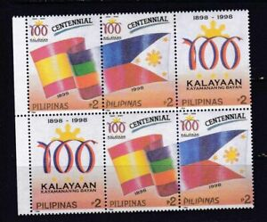 Philippines-1998-FLAG-Centenary-of-Independence-strip-of-3-in-pair-mint-NH