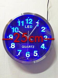 Blaue-LED-Wanduhr-Designuhr-Quarzuhr-Analog-rund-Wanduhr-Runduhr-25cm