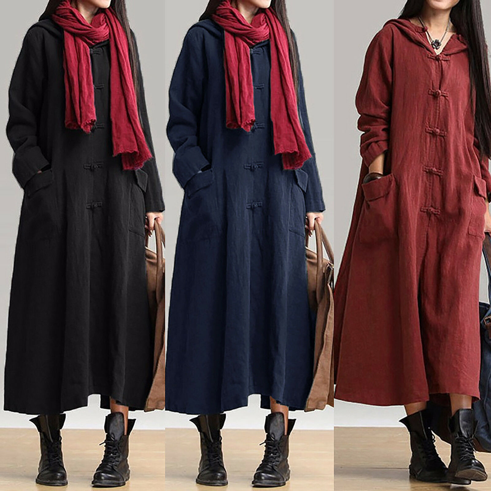 Womens Ladies Cotton Linen Hooded Casual Loose Kaftan Long Maxi Dress Plus Size