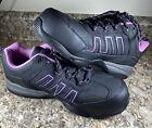 Women's 9W Hytest Steel Toe Black And Purple Slip Resistant Sneakers